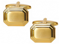 Dalaco 90-2162 Dual Finished Rectangular Gold Plated Cufflinks